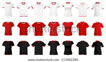 T-shirts and hats template. - stock vector