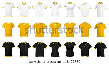 T-shirts and polo uniform template. - stock vector