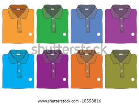 T-shirts are in the 8 different color - stock vector