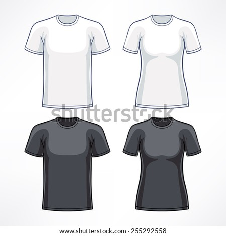 T-shirts for men and women in white and black colors - stock vector