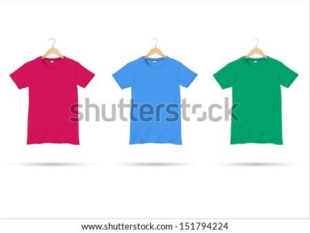 T-shirts on hangers. Vector set - stock vector
