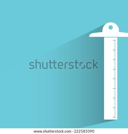 T Square Ruler In Blue Background Flat And Shadow Design