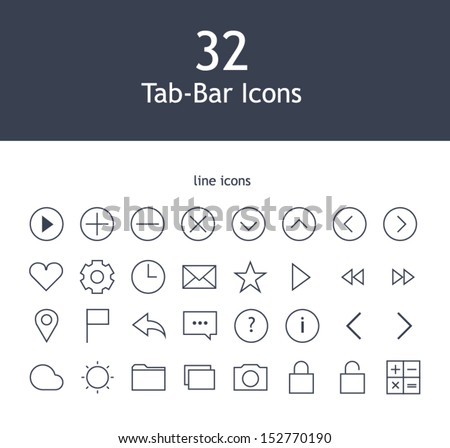 Tab bar line icons for mobile devices - stock vector