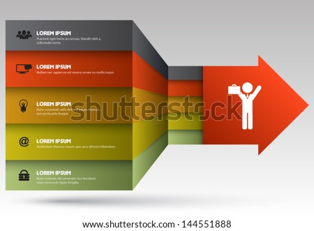 Tab ribbon arrow for business concept. Education diagram, information, team concept for success. - stock vector
