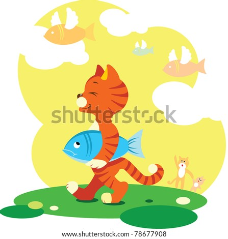 Tabby cat walk with the caught fish. In the sky flying fish with wings. - stock vector