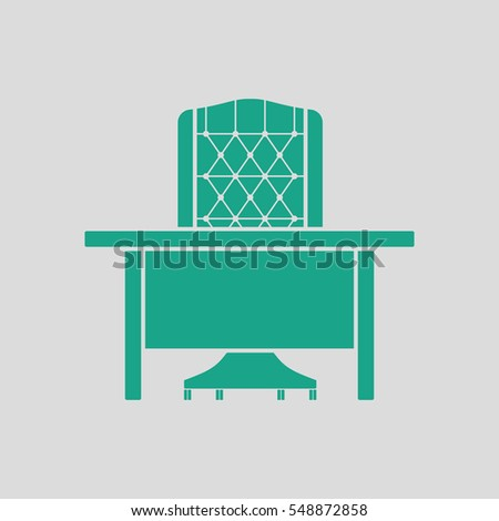Table and armchair icon. Gray background with green. Vector illustration.
