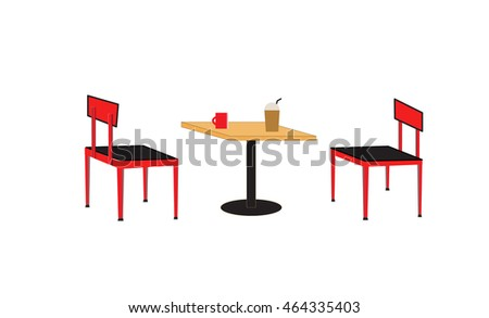table and chair in the cafe
