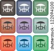 Table and chairs, icon, vector - stock photo