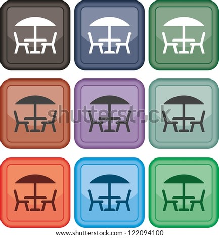 Table and chairs, icon, vector - stock vector