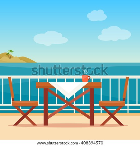 Table and chairs on the balcony with sea landscape.  Beach chair with sea on background. Flat style vector illustration. - stock vector