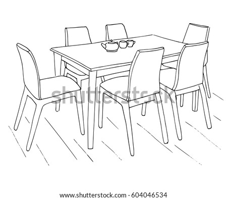 table and chairs drawing. table and chairs. on the are two cups. hand drawn sketch.vector chairs drawing