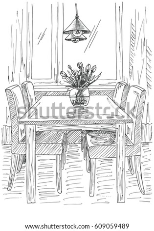 Table Chairs On Table Vase Flowers Stock Vector Royalty Free