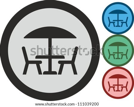 Table and chairs, vector, icon - stock vector
