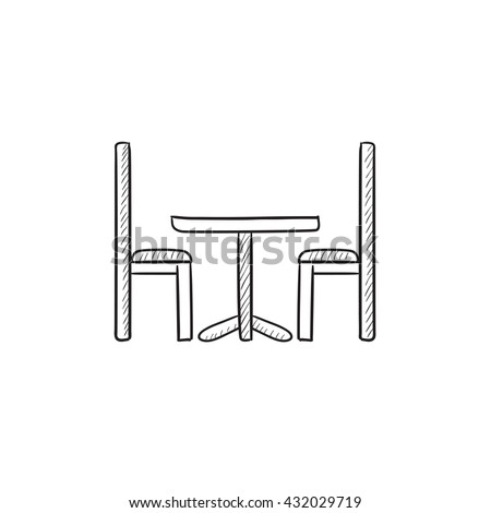 table and chairs drawing. table and chairs vector sketch icon isolated on background. hand drawn drawing x