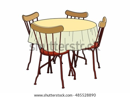 Table and red chairs