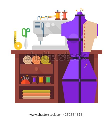 Table and sewing mannequin, sewing machine, fabric and needles. Vector flat illustration. - stock vector