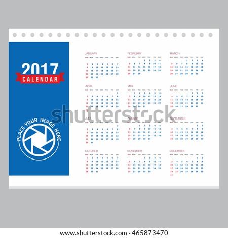 Table Desk Calendar 2017 Year Set Stock Vector 2018 465873470