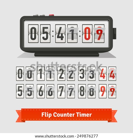 Table flipping timer clock and number counter template plus all numbers with flips. Flat style illustration or icon. EPS 10 vector.