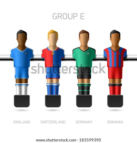 Table football, foosball players. European football championship, Group E - England, Switzerland, Germany, Romania. Vector - stock vector