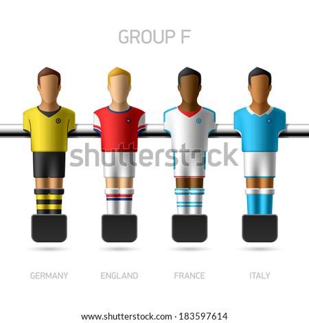 Table football, foosball players. European football championship, Group F - Germany, England, France, Italy. Vector. - stock vector