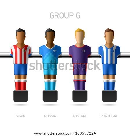 Table football, foosball players. European football championship, Group G - Spain, Russia, Austria, Portugal. Vector. - stock vector