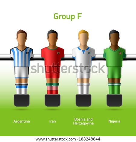 Table football / foosball players. World soccer championship. Group F - Argentina, Iran, Bosnia and Herzegovina, Nigeria. Vector. - stock vector