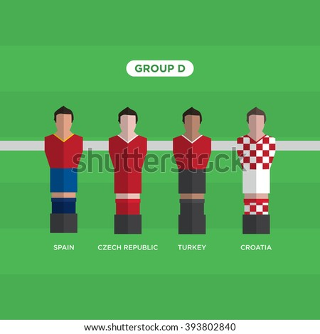 Table Football Soccer players. Group D. Editable vector design.  - stock vector