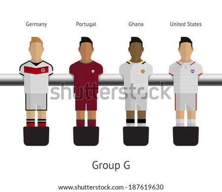 Table football, soccer players. Group G - Germany, Portugal, Ghana, United States. Vector illustration. - stock vector