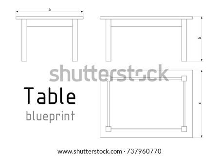 Table furniture wireframe blueprint dimensions linear stock vector table furniture wireframe blueprint with dimensions linear outline pedestal vector illustration malvernweather Choice Image