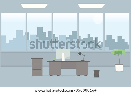 Table in empty office room - stock vector