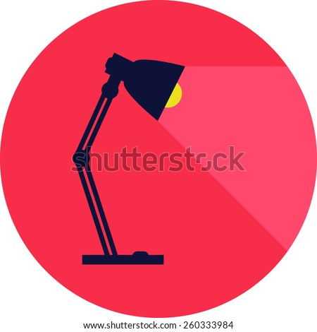 table-lamp, desk lamp,  reading-lamp with light,  flat style vector illustration - stock vector