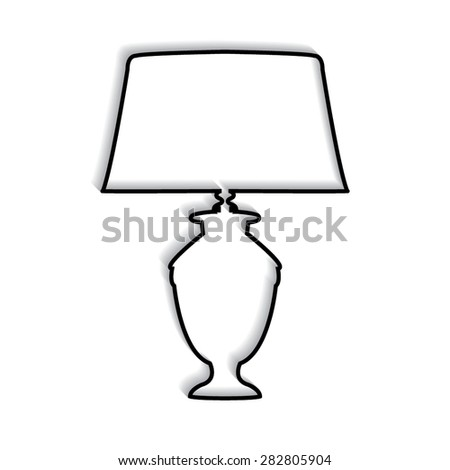 Table lamp vector, icon with shadow