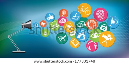 Table lamps with icons, Communication in the network social  - stock vector