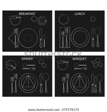 Table Place Setting For Breakfast, Lunch, Dinner, Banquet. Hand Drawn Cutlery Set. Vector. - stock vector
