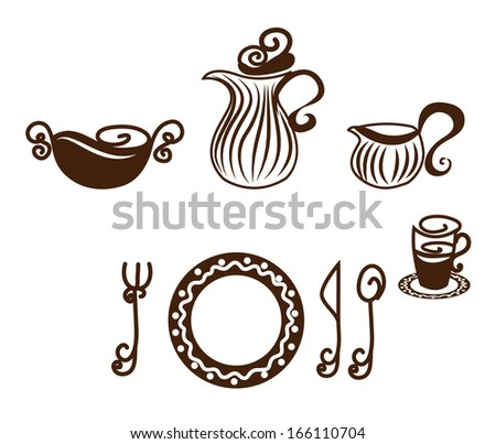 Table setting. Artistic design tableware. Isolated on a white background. - stock vector