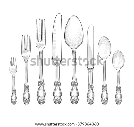 Table setting set. Fork, Knife, Spoon  sketch set. Cutlery hand drawing collection. Catering engraved vector illustration. Restaurant service.  Banquet  still life - stock vector