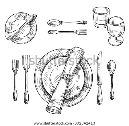 Table Setting Vector Sketch Stock Vector 392342413 - Shutterstock