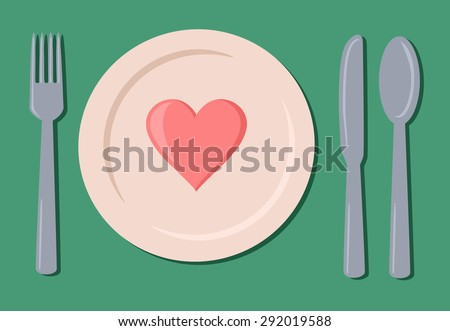 Table setting with a heart - stock vector