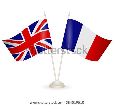Table stand with flags of England and France. Symbolizing the cooperation between the two countries. flag icons. Two flag vector. flag pole.  - stock vector