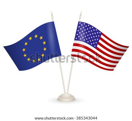 Table stand with flags of EU and USA. Symbolizing the cooperation between the two countries. flag icons. Two flag vector. flag pole.  american flag - stock vector