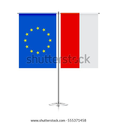 table stand with flags of european union and poland. symbolizing the cooperation between the EU and POLAND. vector table flags