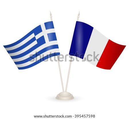 Table stand with flags of Greece and France. Symbolizing the cooperation between the two countries. flag icons. Two flag vector. flag pole.
