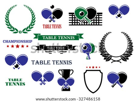 Table tennis game heraldic elements with balls, bats, net and trophy, supplemented by heraldic shield, laurel wreaths, ribbon banners and stars - stock vector