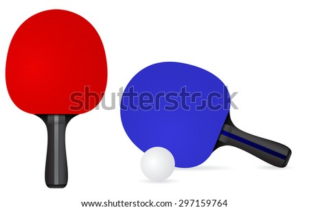 Table Tennis Racket with ball. Vector drawing isolated on white background