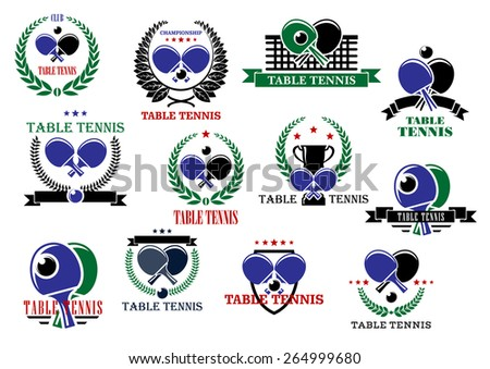 Table tennis sporting icons and labels set with rackets, balls and net - stock vector