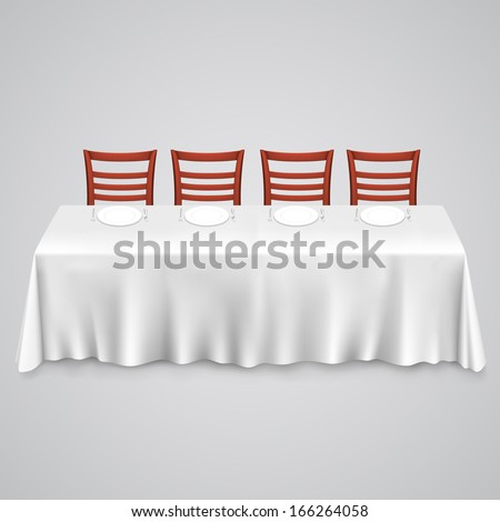table with a tablecloth and chair on a white background, template design element, Vector illustration - stock vector