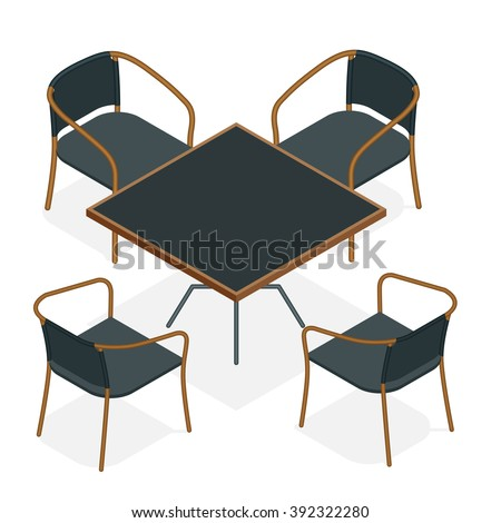Table with chairs for cafes. Table with chairs icon. Table with chairs Modern. Table with chairs on white background. Table with chairs Flat. Table with chairs isometric. Table with chairs vector - stock vector