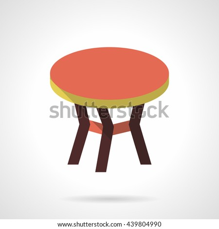 Table with red round top. Furniture for trendy and comfortable interior. Flat color style vector icon