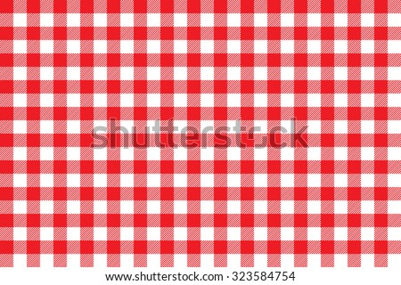 Tablecloth background red seamless pattern. Vector illustration of traditional gingham dining cloth with fabric texture. Checkered picnic cooking tablecloth. - stock vector