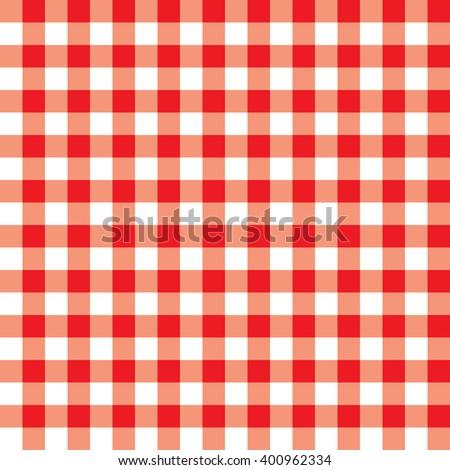 Tablecloth red checks - stock vector